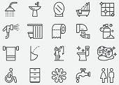 istock Bathroom and Toilet Line Icons 1129071105