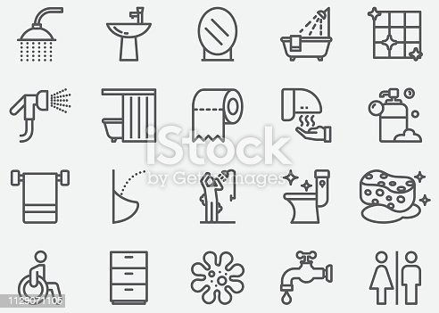 istock Bathroom and Toilet Line Icons 1129071105