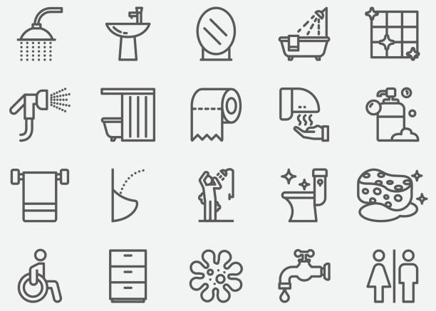 bathroom and toilet line icons - papier toaletowy stock illustrations