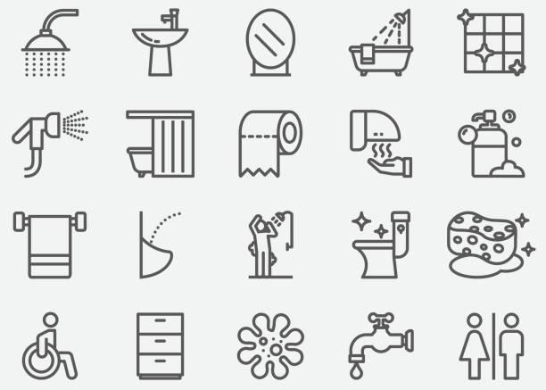 illustrazioni stock, clip art, cartoni animati e icone di tendenza di bathroom and toilet line icons - prendersi cura del corpo