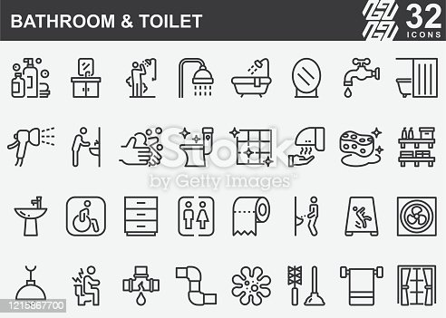 istock Bathroom and Toilet Line Icons 1215867700