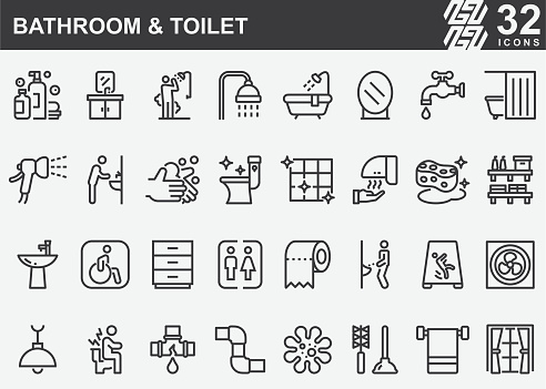 Bathroom and Toilet Line Icons