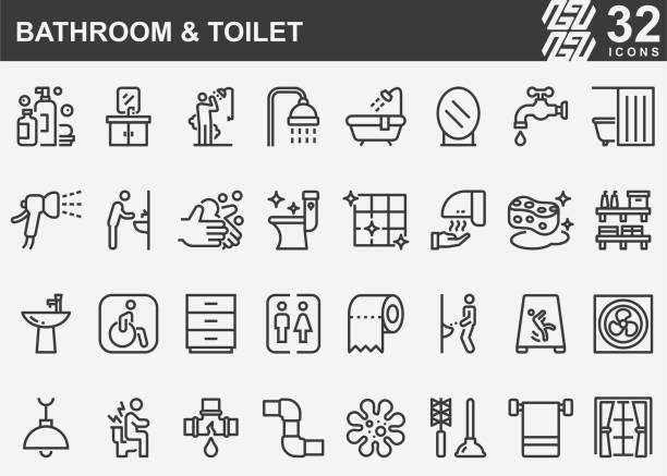 ilustrações, clipart, desenhos animados e ícones de ícones da linha de banheiros e banheiros - banheiro doméstico