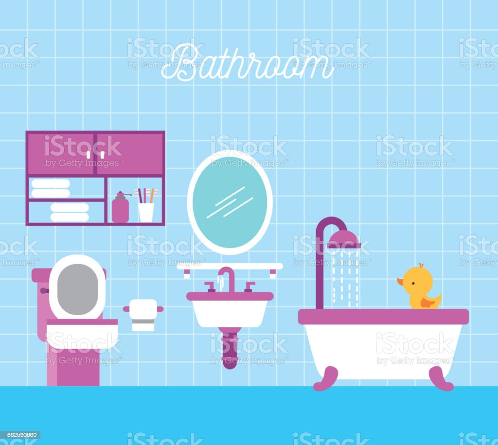 Bathroom Bath Shower Toilet Paper Cabinet And Duck Stock Vector Art ...
