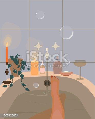 istock Bathroom. Bathroom items, bubbles, candles, houseplant, glass. 1305125001
