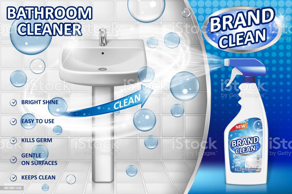 Bathroom Cleaners Ad Poster Spray Bottle Mockup With Liquid - Bathroom detergent