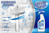 Bathroom cleaners ad poster, spray bottle mockup with liquid detergent for bathroom sink and toilet with bubbles and white background. 3d Vector illustration EPS 10