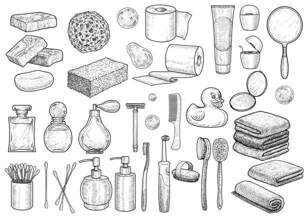 ilustrações de stock, clip art, desenhos animados e ícones de bathroom collection illustration, drawing, engraving, ink, line art, vector - esponja