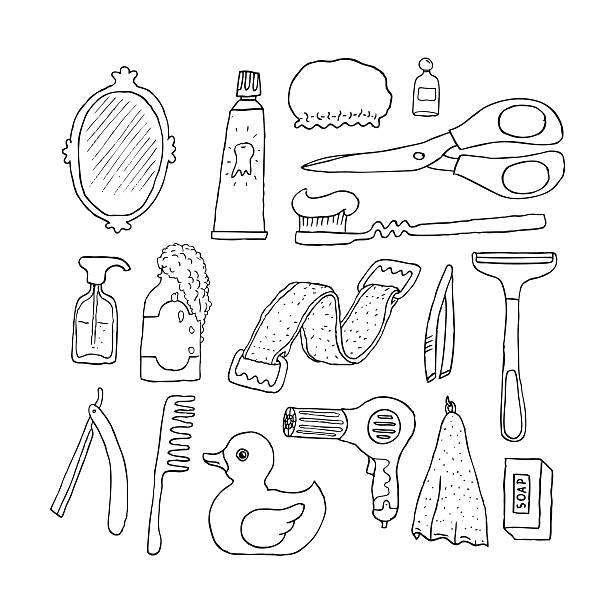 badezimmer.  kosmetik gegenstände. - entenhaus stock-grafiken, -clipart, -cartoons und -symbole
