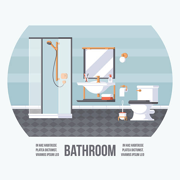 badezimmer-cover - spiegelfliesen stock-grafiken, -clipart, -cartoons und -symbole