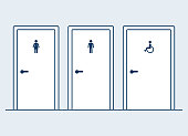 Male, female and disabled restrooms, simple and modern flat cartoon vector illustration. Man, Woman and handicapped (wheelchair) symbols on bathroom doors.