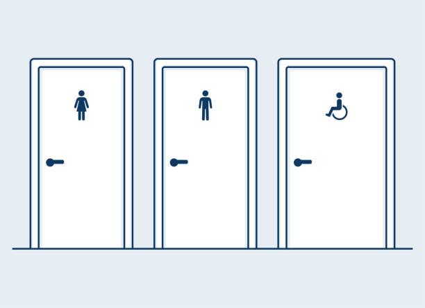 Bathroom doors illustration vector art illustration