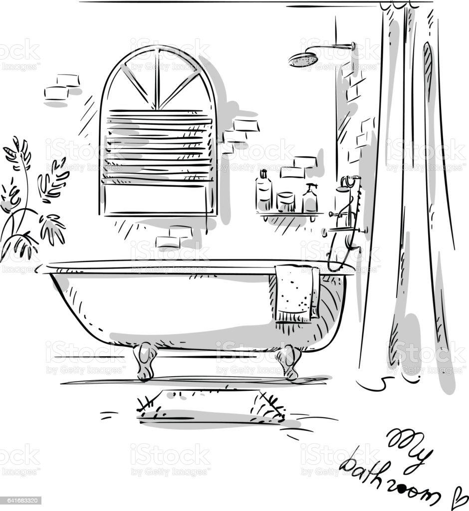 Banheiro de desenho. - ilustração de arte em vetor
