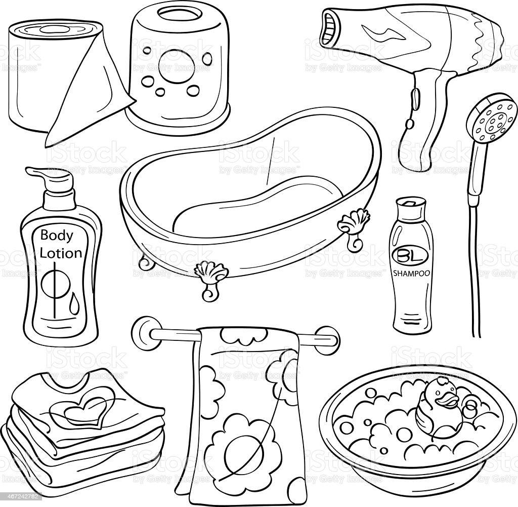 Bathroom Elements vector art illustration