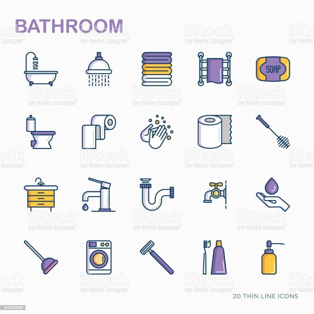 Bathroom equipment thin line icons. Hygiene, purity, beauty, plumber related icons. Vector illustration. vector art illustration