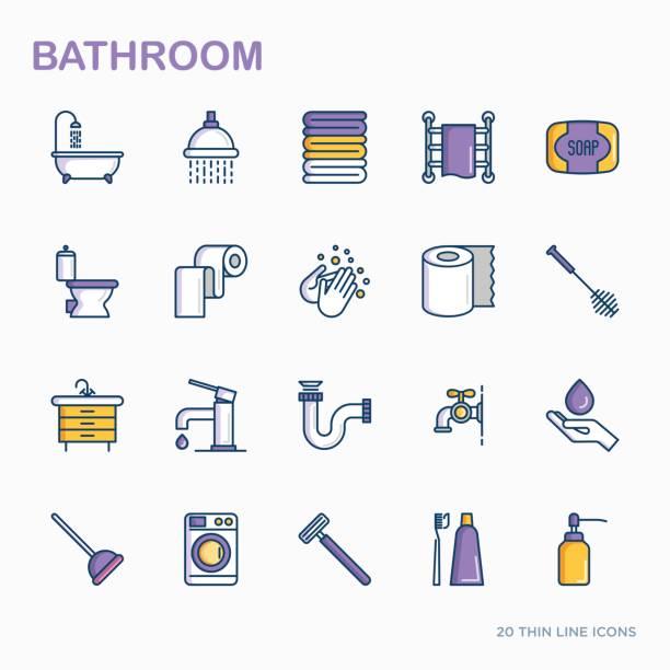 badezimmer ausstattung dünne linie symbole. hygiene, reinheit, schönheit, klempner bezogene ikonen. vektor-illustration. - duscharmaturen stock-grafiken, -clipart, -cartoons und -symbole