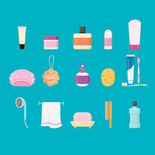Bathroom equipments set vector art illustration
