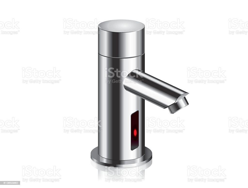 Bathroom faucet chrome powered automatic by sensor. vector art illustration