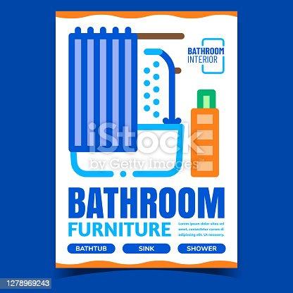 istock Bathroom Furniture Creative Promo Banner Vector 1278969243