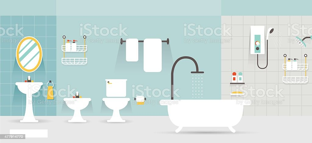 Bathroom Furniture Display Panorama vector art illustration