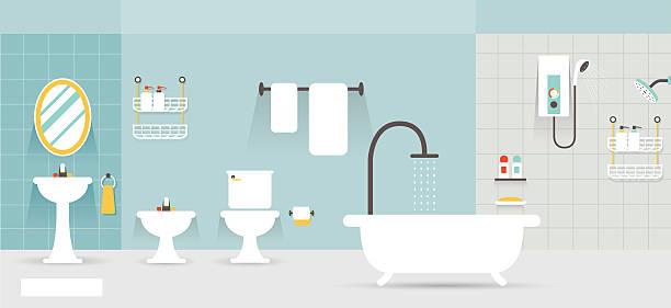 illustrazioni stock, clip art, cartoni animati e icone di tendenza di display panorama mobili da bagno - bagno