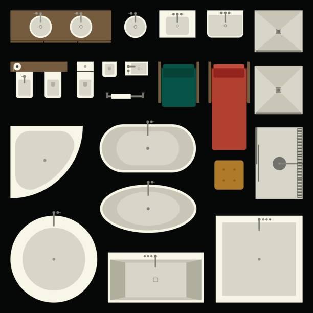 möbel-set im bad - duscharmaturen stock-grafiken, -clipart, -cartoons und -symbole
