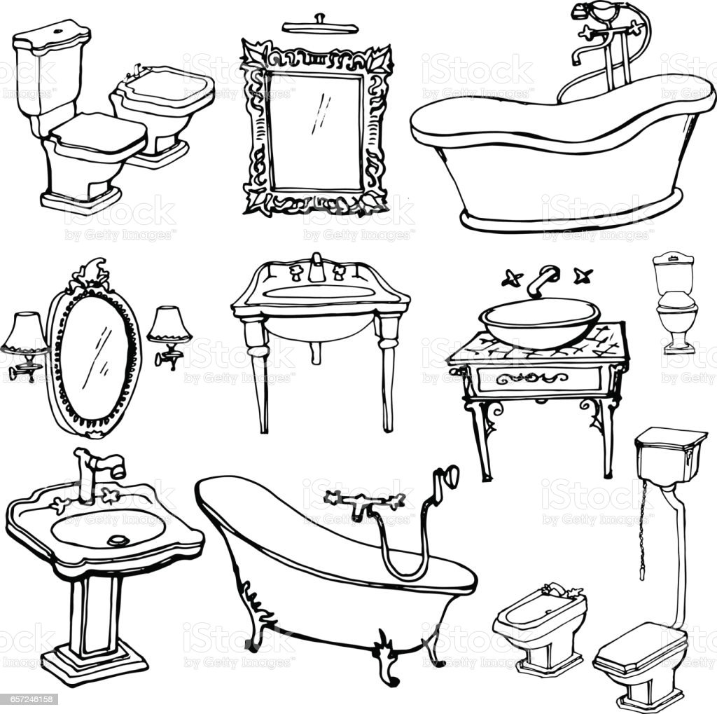 The Kitchen Sink Art Drawing Sketch Sketchbook By: Royalty Free Baroque Mirror Clip Art, Vector Images