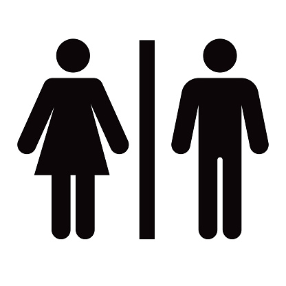 A men's and women's bathroom icon in a simple, flat glyph style. File is built in the CMYK color space for optimal printing. Black and white.