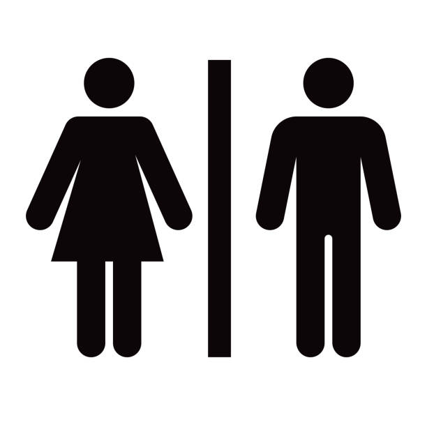 Bathroom Glyph Icon A men's and women's bathroom icon in a simple, flat glyph style. File is built in the CMYK color space for optimal printing. Black and white. one person stock illustrations