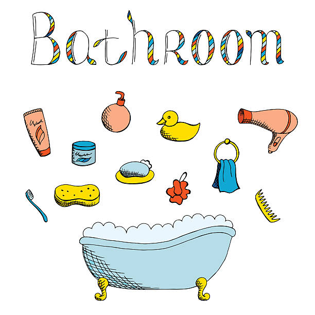 badezimmer-art satz isoliert vektor-illustration der farbe - entenhaus stock-grafiken, -clipart, -cartoons und -symbole