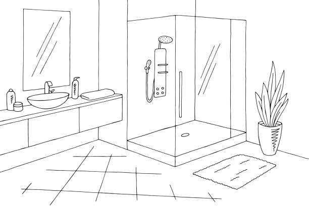 Royalty Free Bathroom Interior Black White Graphic Sketch