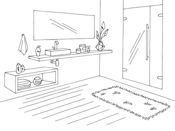 badezimmergrafik innenraum schwarz-weiß skizze vektor - badezimmer stock-grafiken, -clipart, -cartoons und -symbole