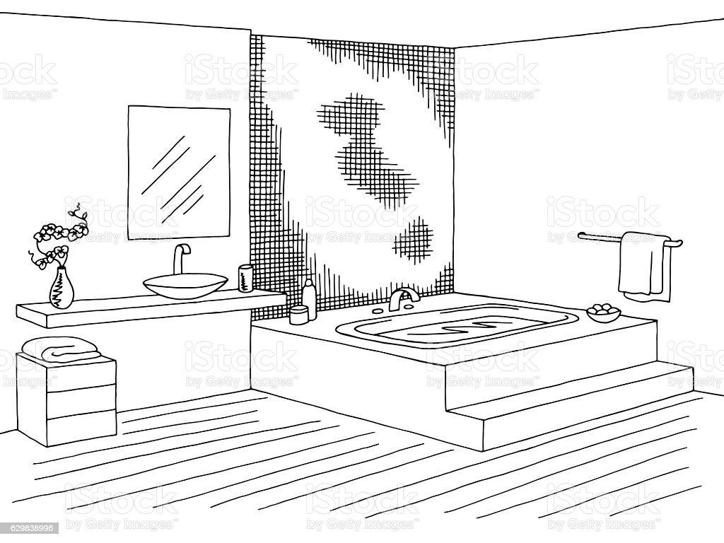 Bathroom Graphic Interior Black White Sketch Illustration Vector ...