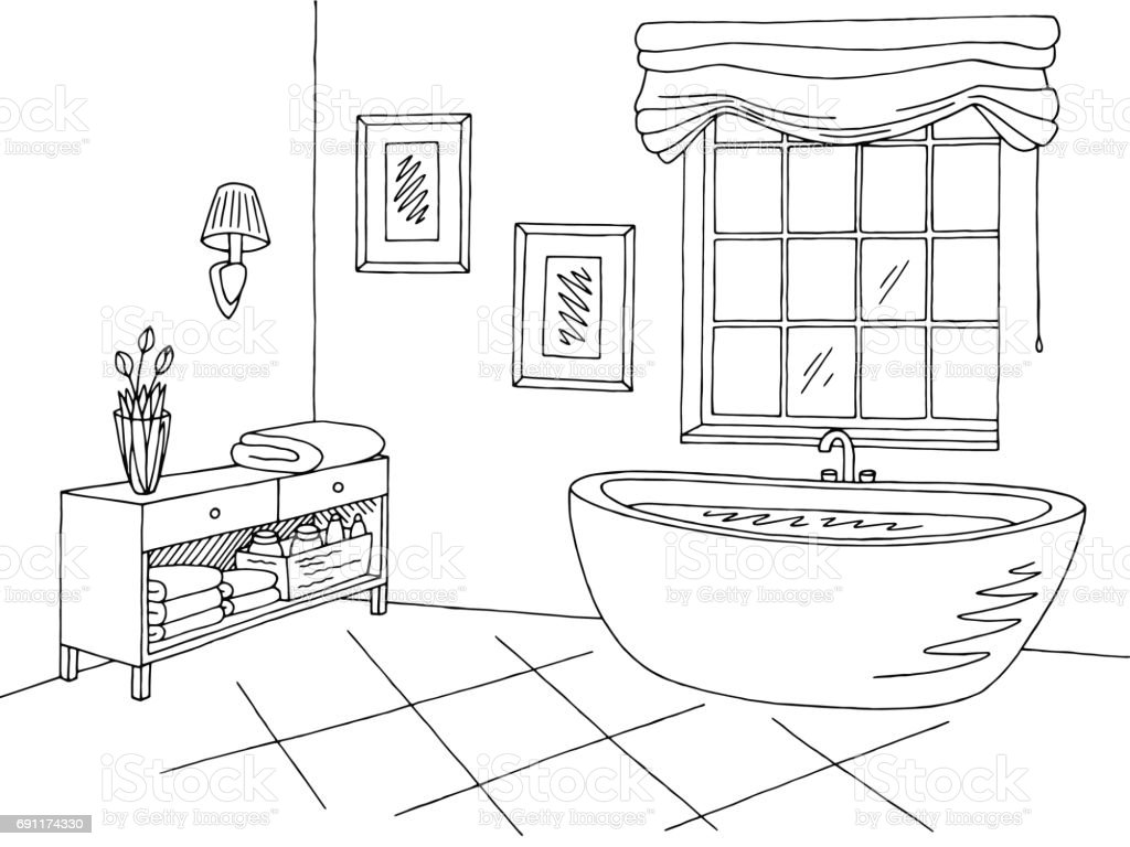 Line Art Bathroom : Bathroom graphic interior black white sketch illustration