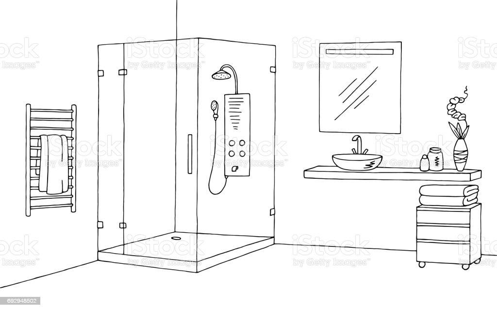 Bad Grafik innen schwarz weißen Skizze Abbildung Vektor – Vektorgrafik
