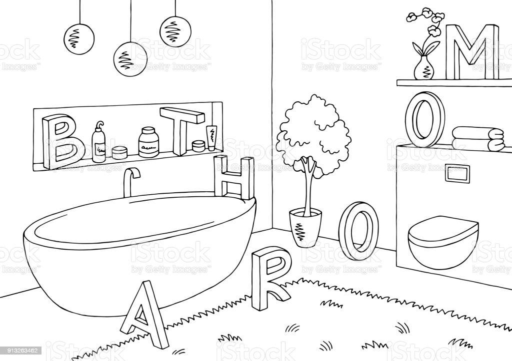 Black and white bathroom art