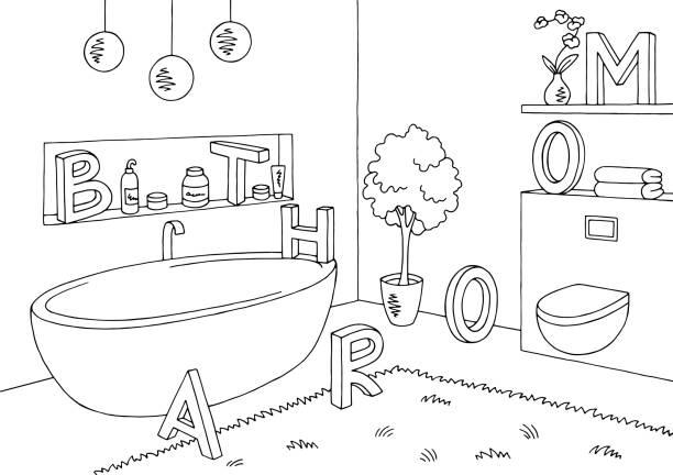 Bathroom Niche Clip Art Vector Images Illustrations Graphic Interior Black White