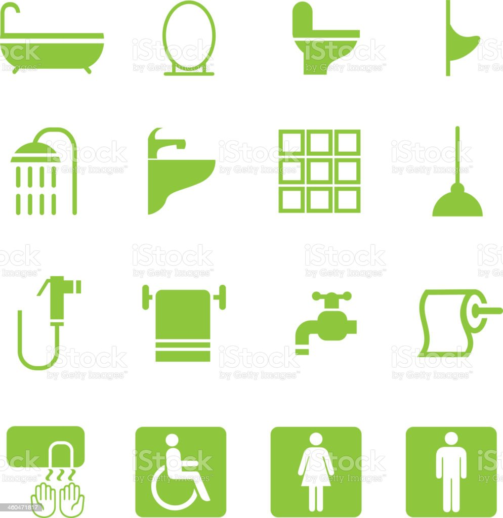 Bathroom Green Silhouette Icons vector art illustration