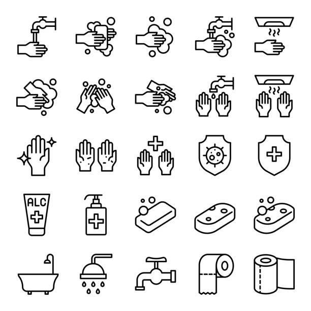 ilustraciones, imágenes clip art, dibujos animados e iconos de stock de baño conjunto de vectores higiene, icono de estilo de línea - hand sanitizer