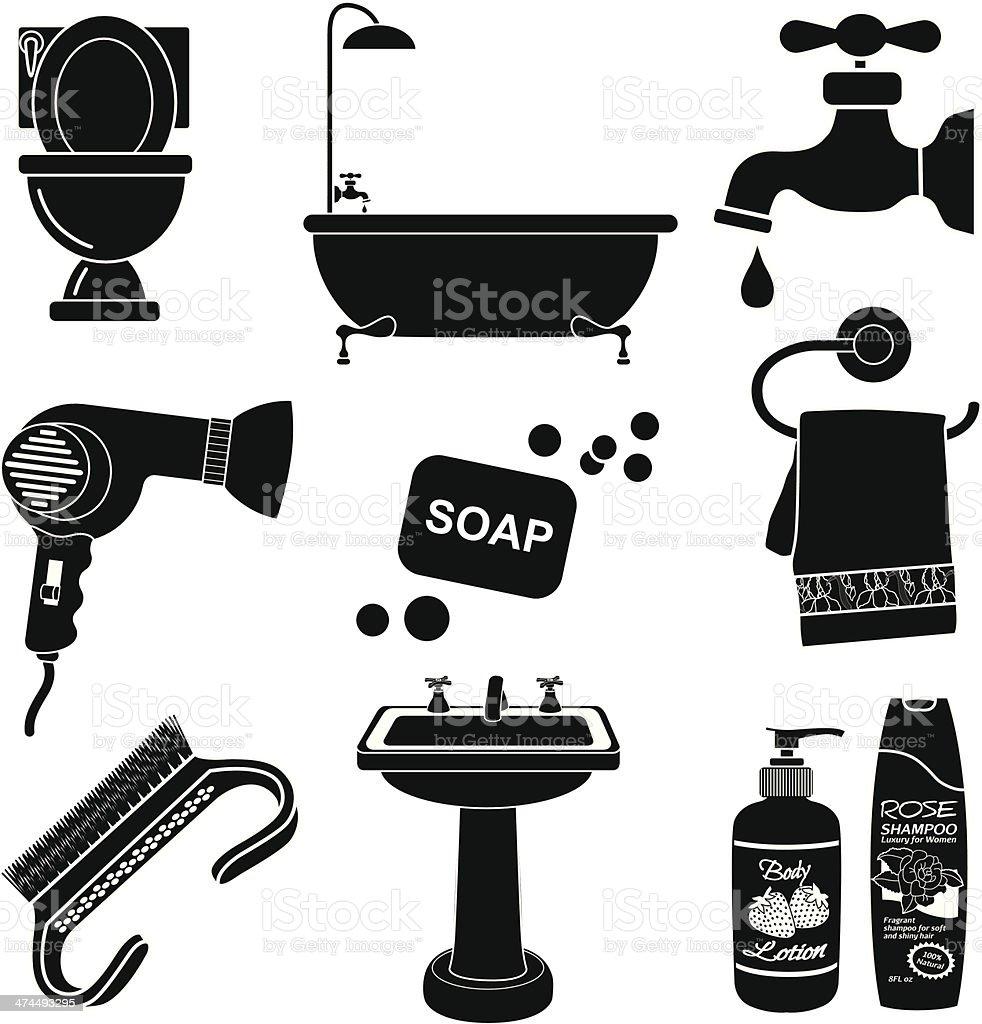 bathroom icon set vector art illustration
