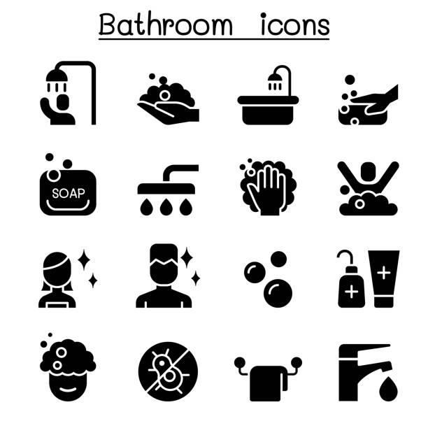 浴室アイコン セット ベクトル イラスト グラフィック デザイン - 体 洗う点のイラスト素材/クリップアート素材/マンガ素材/アイコン素材