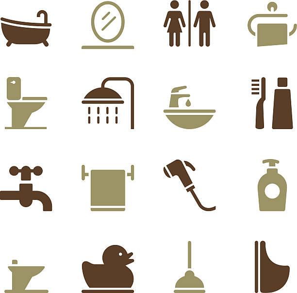 badezimmer-icons-color-serie - fallrohr stock-grafiken, -clipart, -cartoons und -symbole