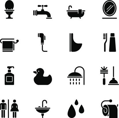 Bathroom icons - Regular Black
