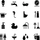 Vector File of Bathroom icons - Regular Black