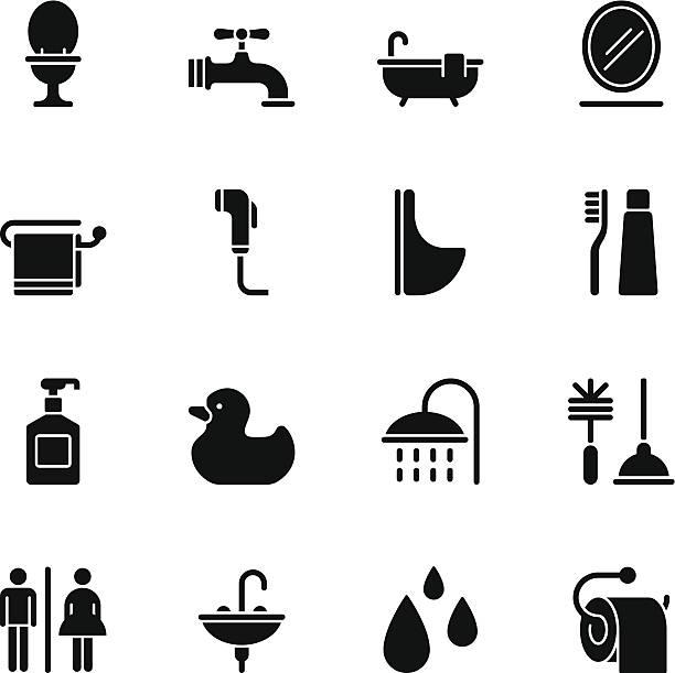 standard badezimmer-icons-schwarz - fallrohr stock-grafiken, -clipart, -cartoons und -symbole