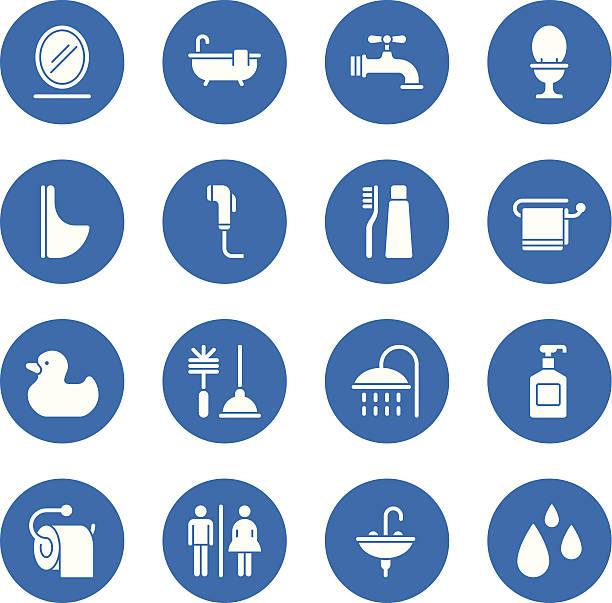 badezimmer-icons-standard-circle - fallrohr stock-grafiken, -clipart, -cartoons und -symbole