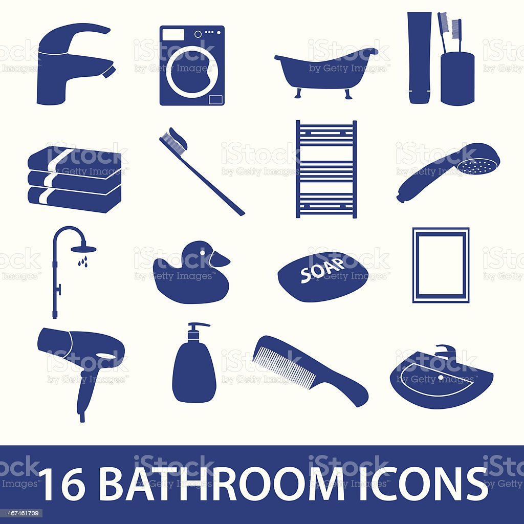 bathroom icons set eps10 royalty-free stock vector art