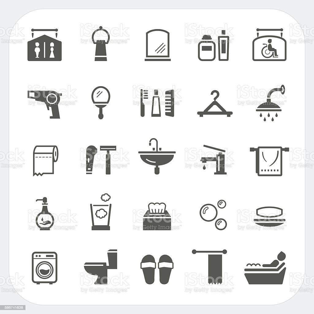 Bathroom icons set vector art illustration
