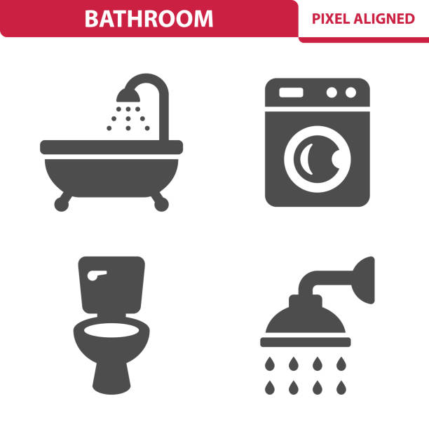 Bathroom Icons Professional, pixel perfect icons, EPS 10 format. bathroom icons stock illustrations