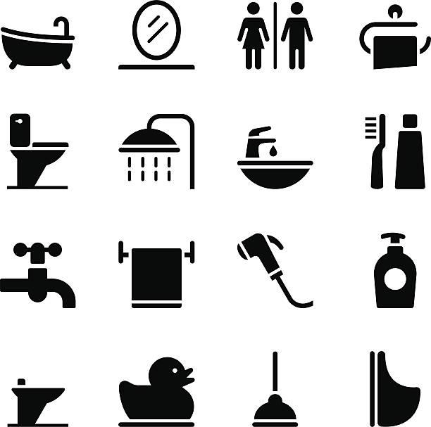bathroom icons - 淋浴 幅插畫檔、美工圖案、卡通及圖標